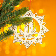 Branch of Christmas tree with decoration star — Stock Photo #17886279