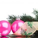 Christmas decoration balls with fir-tree — Stock Photo #17886363