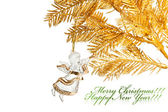 Christmas decoration angel with golden fir-tree — Стоковое фото