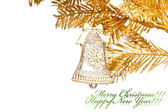 Christmas decoration bell with golden fir-tree — Стоковое фото