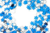 Many snowflakes on white background — Стоковое фото