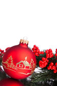 Christmas decoration ball with european holly — Стоковое фото