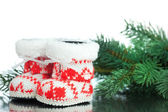 Christmas decoration boot with fir-tree — Стоковое фото