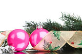 Christmas decoration balls with fir-tree — Стоковое фото