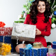 Beautiful fashionable woman with gift boxes — Stock Photo #18465187