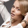 Beautiful woman in white blouse - Foto Stock