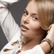 Beautiful woman in white blouse - Stockfoto