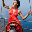 Stock Photo: Girl on a yacht in the summer