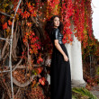 Woman near the wall of autumn leaves — Stock Photo #34166943