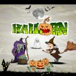 Grungy Halloween background with witches house, bats and full mo - Stock Vector