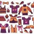 Large set of clothes in vintage style — Image vectorielle