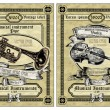 Vector set vintage labels - Musical Instruments — Stock Vector