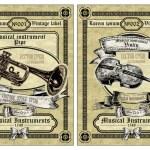 Vector set vintage labels - Musical Instruments — Stock Vector