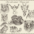Vector set: different wild animals - various vintage style. — Stock Vector