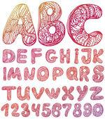 抽象的な abc 手紙手描きの背景の設定 — ストックベクタ