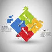 Progettazione web. uno due tre quattro - vettore di passi di avanzamento carta per — Vettoriale Stock