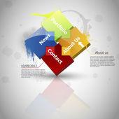 Progettazione web. uno due tre quattro - vettore di passi di avanzamento carta — Vettoriale Stock
