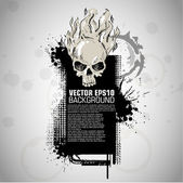 Grunge banner with an inky dribble strip with halloween skull. c — Stock Vector
