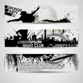 Set of three banners, abstract headers with grunge blots. Grunge — Vettoriale Stock