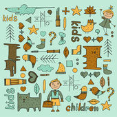 Set of children's items for coloring books — Stock Vector