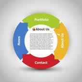 Diseño web. uno dos tres cuatro - vector pasos de avance de papel para — Vector de stock