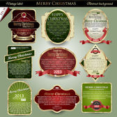 Vector set: gold-framed labels for Merry Christmas — Stok Vektör