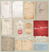 Digital scrapbooking kit: old paper - different aged paper objec — Stock vektor