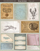 Scrapbooking set. old paper textures: different aged paper objec — Stockvector