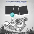Background  with photo frame and camera in retro style — Imagens vectoriais em stock