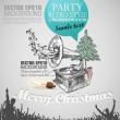 Grunge banner in retro style for Christmas with copy space. Abst — 图库矢量图片