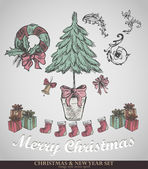 Christmas decoration collection. Set of calligraphic and typogra — Cтоковый вектор