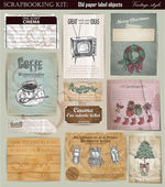 Vector set tickets , paper different object — Vettoriale Stock