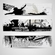 Set of three banners, abstract headers with grunge blots. Grunge — Imagens vectoriais em stock