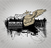 Grunge banner with an inky dribble strip and helmetl, wings, cro — Vecteur