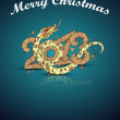 2013 Year of the snake. Christmas card — Stock Vector