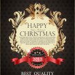 图库矢量图片: Gold Christmas greeting card in vitage style. Vintage royal bac