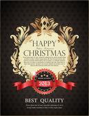 Tarjeta de felicitación navidad oro en estilo vitage. vintage real bac — Vector de stock