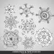 Stock Vector: Collection of 8 different snowflakes