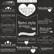 Collection of Vilentain day Labels with retro vintage styled design. Vilentain decoration collection — 图库矢量图片