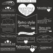 Collection of Vilentain day Labels with retro vintage styled design. Vilentain decoration collection — Stock vektor
