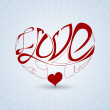 Valentin day, Greting card with heart and love — Imagen vectorial