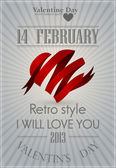 Valentin giorno, scheda greting con cuore e amore — Vettoriale Stock