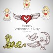 Greeting card with Valentine day heart with angels, cupids. Hand-drawn retro stuff. — Vector de stock