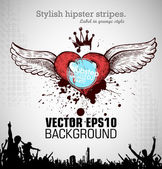 Grunge banner with an inky dribble strip with copy space. Abstract background for party. Valentain day — Cтоковый вектор