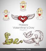 Tarjeta de felicitación con corazón de día de san valentín con los ángeles de cupidos. cosas retro dibujados a mano. — Vector de stock