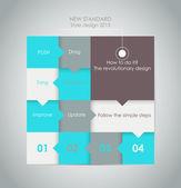 Diseño web. vector pasos de avance de papel — Vector de stock