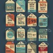 Vintage discount labels set — Stock Vector