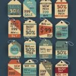 Vintage discount labels set — Stock Vector