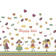 Happy girls playing — Stock Vector