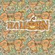 Stock Vector: Set Seamless Halloween pattern